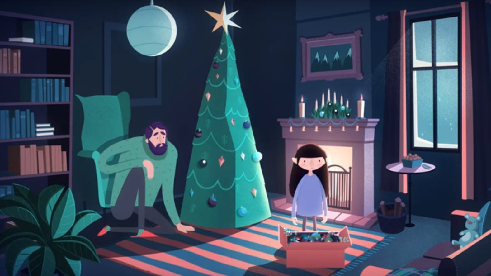 scena video: bambina con pacco regalo