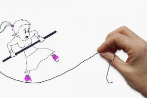 disegno ragazza su corda