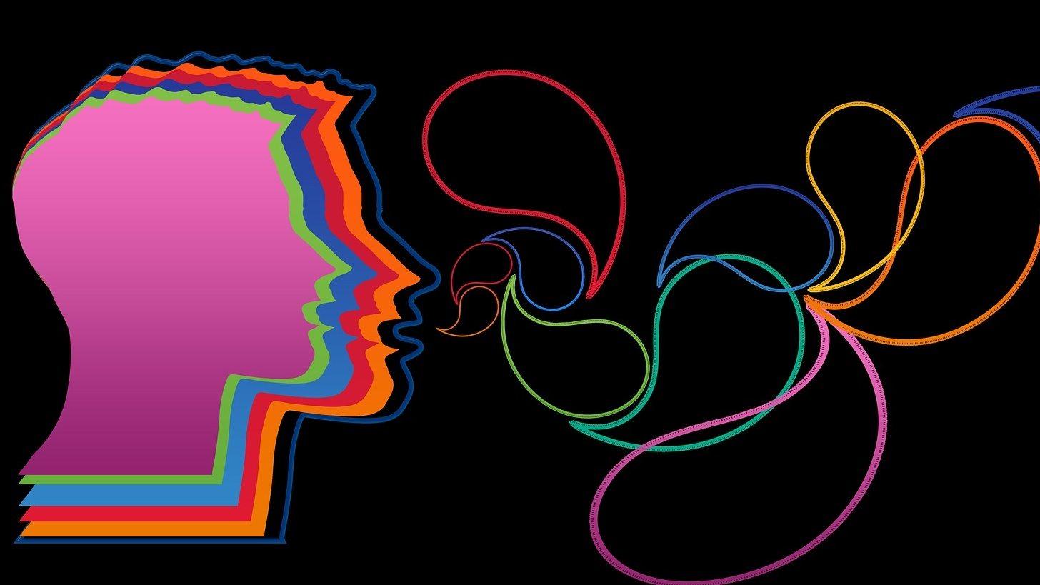 testa con colori e forme