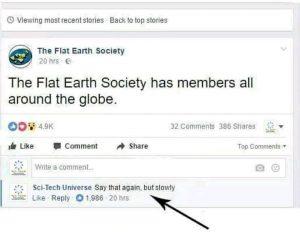 """twit della società dei terrapiattisti che dichiara che esisono membri """"su tutto il globo"""""""
