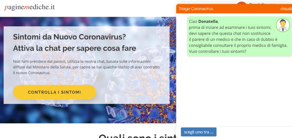 schermata chatbot coronavirus