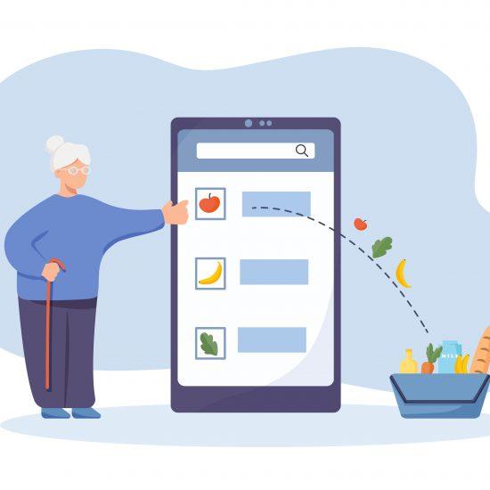 anziana compra da un'app